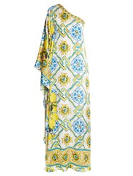 Dolce And Gabbana Majolica And Lemon Print One Shoulder Gown