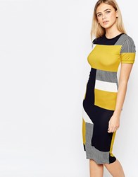 Oasis Bold Colour Block T Shirt Dress Navy And Green