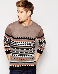 Asos Jumper With Aztec Design Taupe