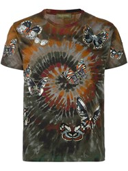 Valentino 'Rockstud Tie And Dye' Butterfly Embroidered T Shirt Multicolour