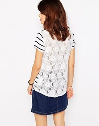 Brave Soul Stripe Lace Back T Shirt Cream Navy White