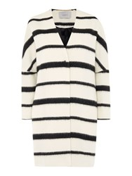 Marella Ruth Monochrome Stripe Coat White
