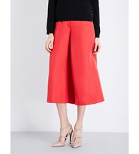 Valentino Cropped Silk Twill Trousers Red