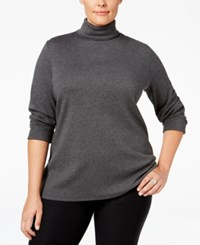 Charter Club Plus Size Turtleneck Top Only At Macy's Charcoal Heather