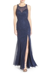Sean Collection Women's Backless Embellished Net Gown