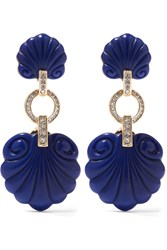 Kenneth Jay Lane Gold Tone Plastic And Crystal Clip Earrings Blue