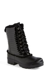 Women's Hunter Original Genuine Shearling And Patent Leather Lace Up Rain Boot Black Patent