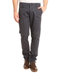 Knowledge Cotton Apparel Twisted Twill Navy Blue Chinos