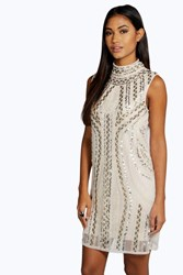 Boohoo High Neck Embellished Bodycon Dress Gold