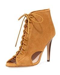 Sjp By Sarah Jessica Parker Marci Suede Lace Up Open Toe Bootie Brown