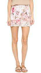 Zimmermann Eden Embroidered Flare Shorts Floral Embroidery