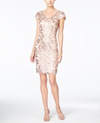 Tadashi Shoji Double V Sequin Sheath Dress Dusty Rose