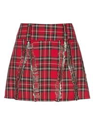 Pixie Market Plaid Safety Pin Mini Skirt