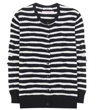 Barrie Striped Cashmere Cardigan Blue