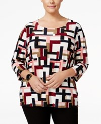 Jm Collection Plus Size Printed Jacquard Top Only At Macy's City Angle