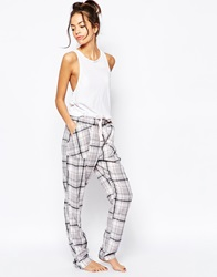 New Look Alice Check Pyjama Trousers Warmgrey
