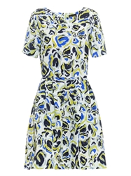 Saloni Nikki Paint Print Crinkled Dress
