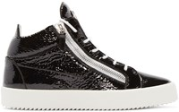 Giuseppe Zanotti Black Patent London Mid Top Sneakers
