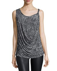 Halston Sleeveless Draped Front Top Gray Grey