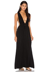 Indah Titanium Deep V Neck Cutout Maxi Dress Black