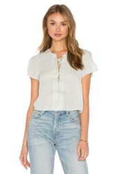 Lucca Couture Woven Split Sleeve Lace Up Crop Top Mint