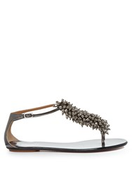 Aquazzura Monaco Bead Embellished Leather Flats Dark Grey