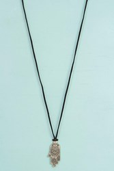 Boohoo Suedette Cord Hamsa Hand Necklace Black