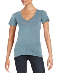 Free People Knit V Neck Tee Deep Sea