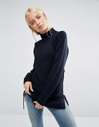 Brave Soul Jumper With Lace Up Side Navy