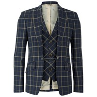 Vivienne Westwood Man Men's Tea Wool Tartan Waiscoat Jacket Navy