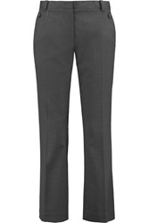 Tory Burch Kane Wool Blend Wide Leg Pants Gray
