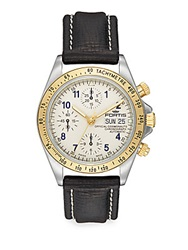 Fortis Cosmonaut Stainless Steel And Leather Chronograph Watch White