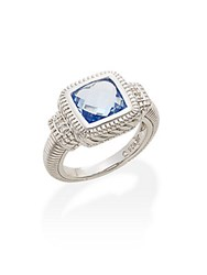 Judith Ripka Fontaine Blue Crystal White Sapphire And Sterling Silver Ring