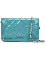 Chanel Vintage Quilted Wallet Chain Green
