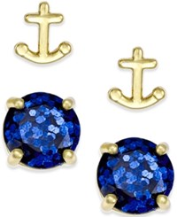 Kate Spade New York Gold Tone Glitter And Anchor Stud Earring Set Navy Multi