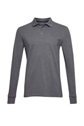 French Connection Men's Brunswick Long Sleeved Polo Shirt Charcoal