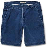 Remi Relief Cotton Blend Corduroy Shorts Blue