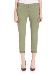 Ag Jeans Cropped Roll Up Cotton Pants Sulfur Dried Sage