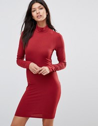 Club L Ribbed High Neck Long Sleeve Polo Dress Berry Red