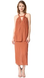 Kitx Pleat Scrunch Dress Rust