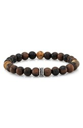 Room101 Men's Wood And Agate Bead Stretch Bracelet