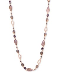 Anne Klein Rose Gold Tone Multi Stone Long Statement Necklace