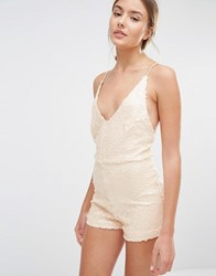 Motel Vanille Playsuit In Sequins Antique Gold Pink