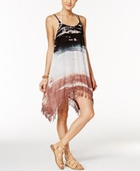 Raviya Tie Dyed Fringed Cover Up Women's Swimsuit Black