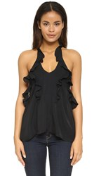 L'agence Gabriel Tiered Ruffle Halter Top Black