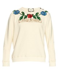 Gucci Flower And Tree Embroidered Cotton Sweatshirt Cream Multi