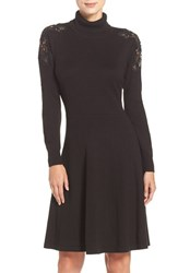 Eliza J Women's Lace Shoulder Turtleneck Sweater Dress