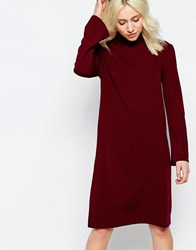 Neon Rose Polo Neck Dress With Flared Sleeves Wine