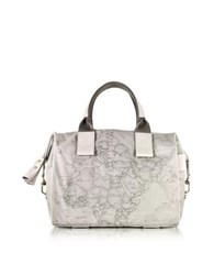 Alviero Martini Free Spirit Softy Ash Gray Fabric And Leather Satchel Bag Graphite