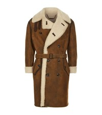 Ralph Lauren Purple Label Arbury Shearling Trench Coat Male Tan